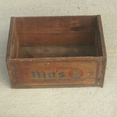 Vintage 1941 Old FashionMa's Root Beer Wooden SodaCrate