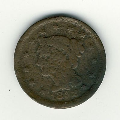 1852 Large Cent Braided Hair  See Photos For Condition - Free Shipping - Lot 111