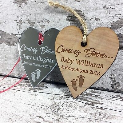 Pregnancy Announcement Personalised  Hanging Heart Plaque  FREE ENGRAVING Gift