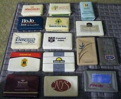 Lot of 44 Assorted Vintage Guest/Hotel/Travel Soap Bars, NOS