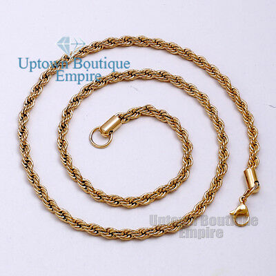 """18"""" Men's Stainless Steel Gold 5mm Rope Necklace Chain Link"""