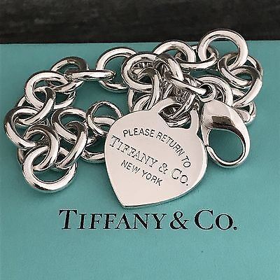 """Please Return to Tiffany & Co Sterling Silver Heart Tag Charm Bracelet 7.5"""""""