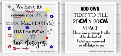DESIGN YOUR OWN vinyl sticker for Box Frame, lettering, drawing, colours, motif