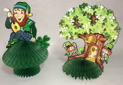 Lot of 2 Vtg Beistle St. Patrick's Day Tissue Decorations Leprechaun Honeycomb