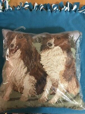 NEW VINTAGE Shetland Sheepdog Sheltie  Woolen Needlepoint HAND MADE Pillow 14 in