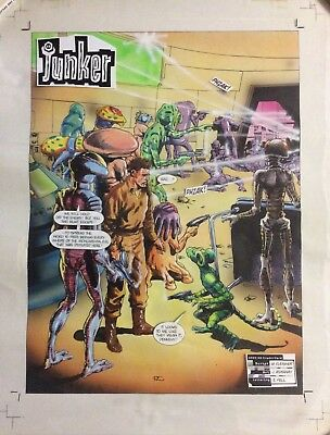 Original Comic Art 2000 AD John Ridgway Junker Title Splash Page 1991