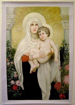LARGE Madonna & Christ Child Oil Portrait Painting Catholic Mary with Baby Jesus