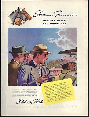 1938 Stetson Hats Thorougbred Colors Horse Race Track Art Print Ad