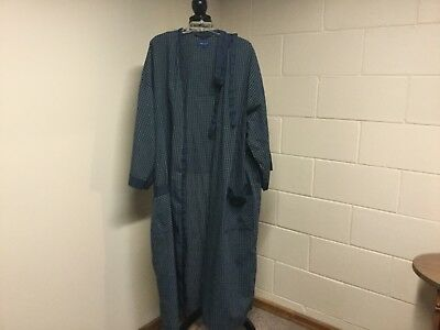 Men's Towncraft Blue Lightweight Checked Robe One Size 2 Large Pockets