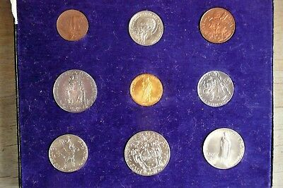 1936 9 Coin Vatican Mint Set, With 100 Lire Gold, Original Case, Gem BU