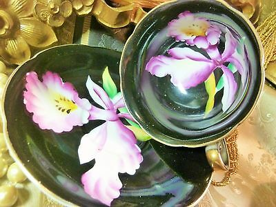 Japan Tea Cup And Saucer Exquisite Hp Purple Orchid On Black Gold Trim