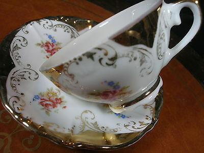 Bavienthal Bavaria Demi Tea Cup And Saucer Lush Gold Gilt Embelishment Hp Floral
