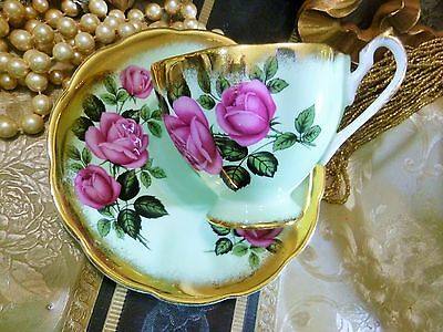 Queen Anne Cup And Saucer Lush Band Of Sponged Gold Yellow Roses On Mint Gem