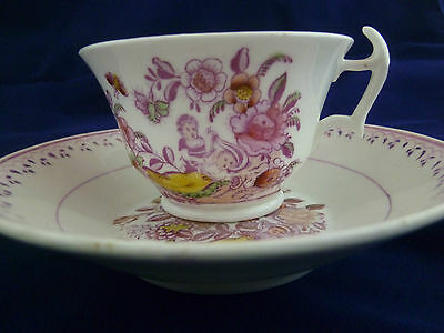 ANTIQUE COALPORT TEA CUP AND SAUCER CUPIDS AT PLAY IN FLORAL GARDEN LONDON c1812