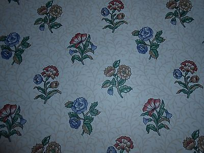 Rosedale blue brown & coral colored victorian floral on cream stem wallpaper