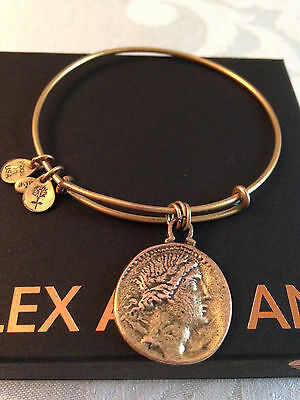 Extremely RARE Alex and Ani Byzantine Collection Justinian Gold Tone Bracelet