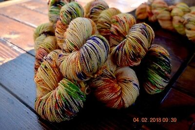 "Hand Dyed  ""Hello Parker"" 4 Ply Superwash High Twist X 1 Skein"
