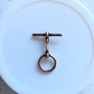 "Toggle/Clasp, Antique Copper-plated ""Pewter"". 12mm Round. 5 sets per pack."