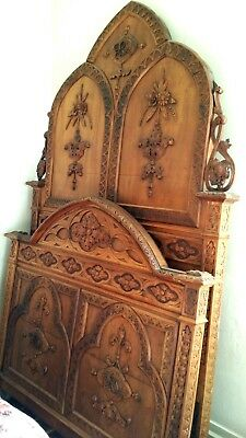 High Back ornate Gothic Victorian Bed~~~ circa late 1800's