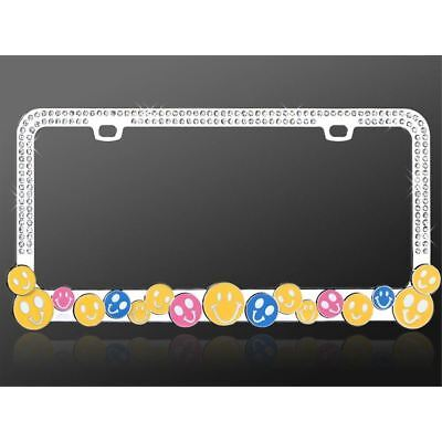 Smile Happy Face Chrome License Plate Frame with White Crystals