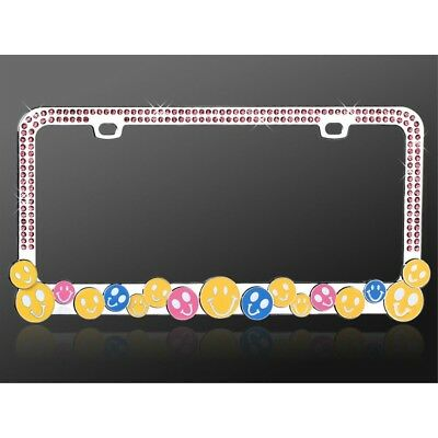 Smile Happy Face Chrome License Plate Frame with Pink Crystals