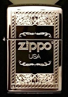 Zippo Windproof Chrome Lighter With Frame Design & Zippo Logo, 31360, New In Box