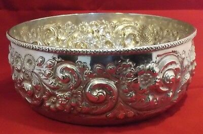 """Theodore B Starr Sterling Silver Repousse Bowl Large Ornate Design 8 1/4""""  490g"""