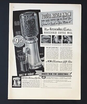 1938 KitchenAid Coffee Mill Advertisement Hobart Electric Grinder Print AD