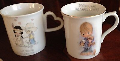 2 Precious MomentsCups Mugs  1985 God Made Us A Perfect Pair 1980 Peacemakers