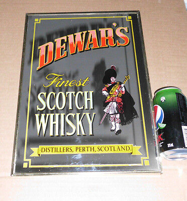 1960's VINTAGE DEWAR'S SCOTCH WHISKY MIRROR ADVERTISING SIGN BAR JOHNNIE WALKER