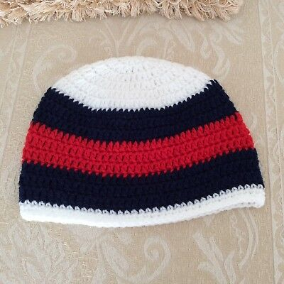 RED WHITE BLUE BABY GIRLS  OR BOYS CROCHET BEANIE 6 to 12 months Made in WA