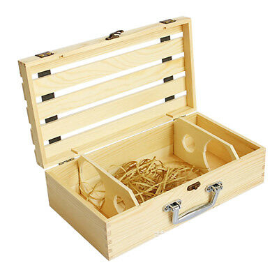 Wooden Wine Box Champagne Double Bottle Natural Pine Wood Metal Clasp