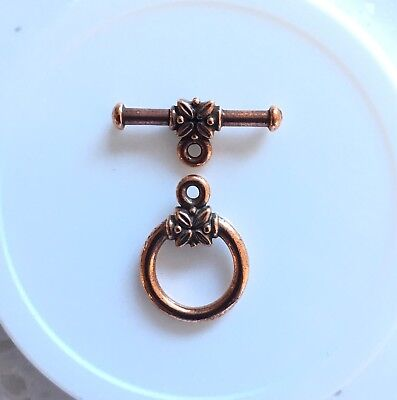 "Toggle/Clasp, Tierra Cast. Ant Copper-plated ""Pewter"". 22mm Round. 2 sets/pk."