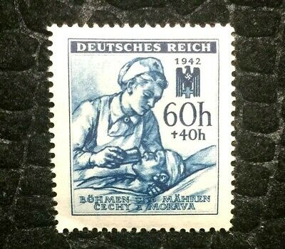 Rare Old Antique Authentic WWII Bohmen 1942 Nurse Unused Stamp - 60h