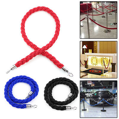 1.5m Twisted Velvet Queue Barrier Rope Red Black for Posts Stands 3 color