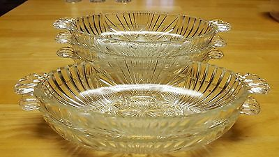 Vintage Clear Lead Cut Glass Hob Star Pickle/Olive/Relish Dish - Set of Five