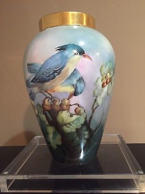 Antique  B&Co France Limoges Hand-Painted Porcelain Vase W/ Birds