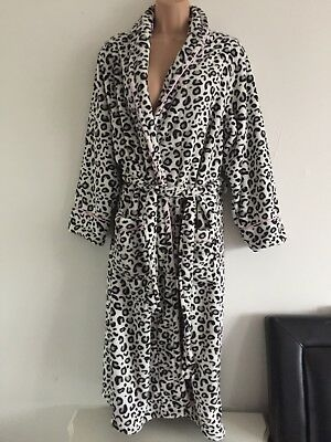 PRIMARK LEOPARD PRINT Soft Fluffy Dressing Gown Robe Size 10-12 New ...