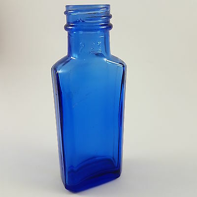 "NICELY colored COBALT BLUE Milk of Magnesia 4 13/16"" SMALL SIZE bottle TWIST TOP"