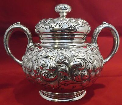 Sterling Silver Repousse Covered Sugar Bowl 428g Exceptional Quality Antique