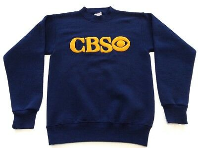 Vtg Sweatshirt Cbs With Logo Spell Out 50/50 Size M Made In Usa B12