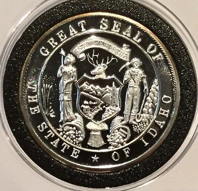 1990 Idaho State Seal Centennial Proof Coin 1 Troy Oz .999 Fine Silver Round 999