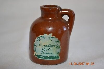 Miniature Apple Blossom Canadian Montreal Brown Glazed  Jug