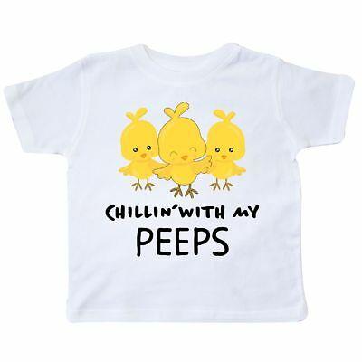 Inktastic Chillin' With My Peeps Toddler T-Shirt Easter Kids Chicks Cute Pun Kid