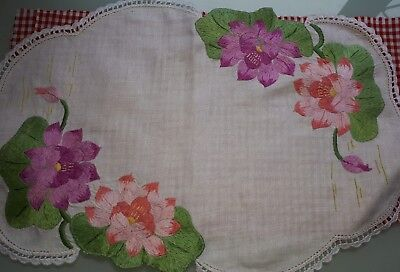 Vintage Hand Embroidered Table Centre - Stunning!