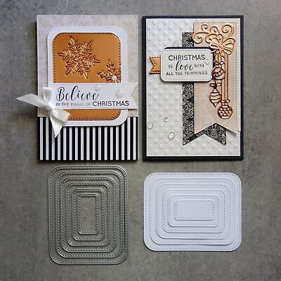 Shopaperartz STITCHED ROUNDED RECTANGLES 6 PCE CUTTING DIES BIRTHDAY CHRISTMAS