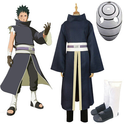 NARUTO Akatsuki Ninja Tobi Obito Madara Uchiha Obito Cosplay Costume with Mask