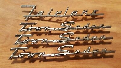 1955 1956 Ford Fairlane TownSedan emblem set FoMoCo badges chrome original