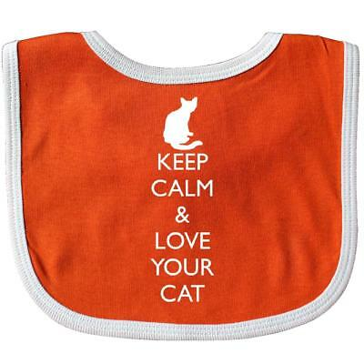 Inktastic Keep Calm & Love Your Cat Baby Bib Kitten Cute Gift Clothing Infant