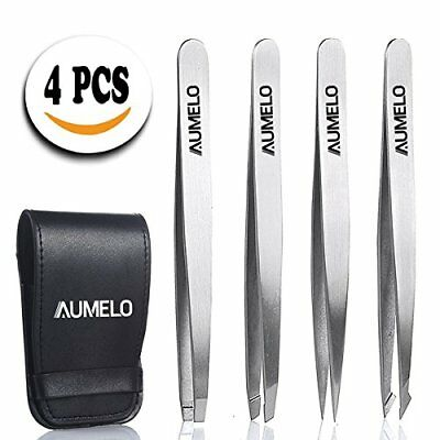 Set 4 Piece Professional Stainless Steel Tweezers Flat Angled Pointed and Slant